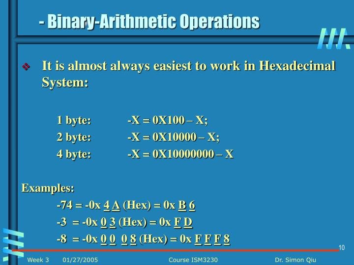 - Binary-Arithmetic Operations