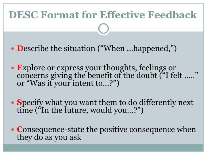 DESC Format for Effective Feedback
