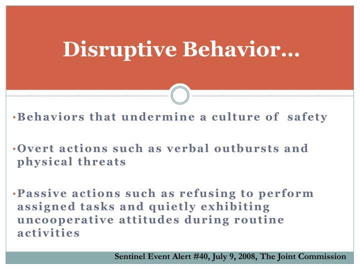 Disruptive Behavior…
