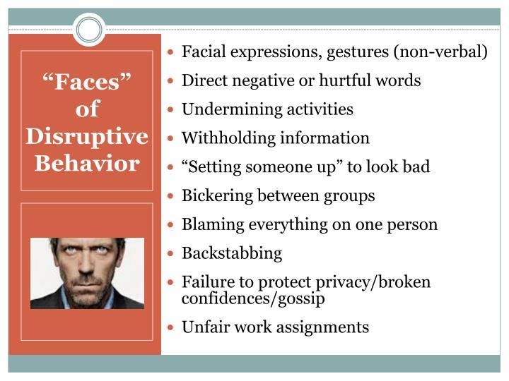 Facial expressions, gestures (non-verbal)