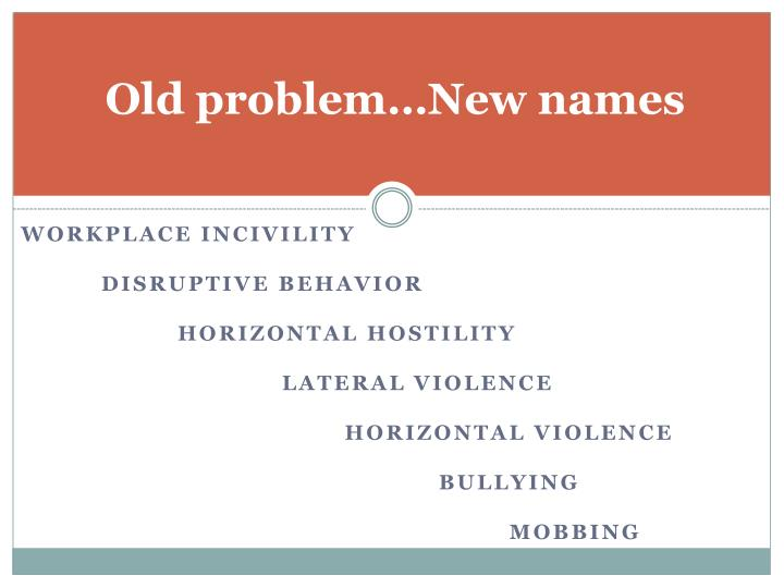 Old problem…New names