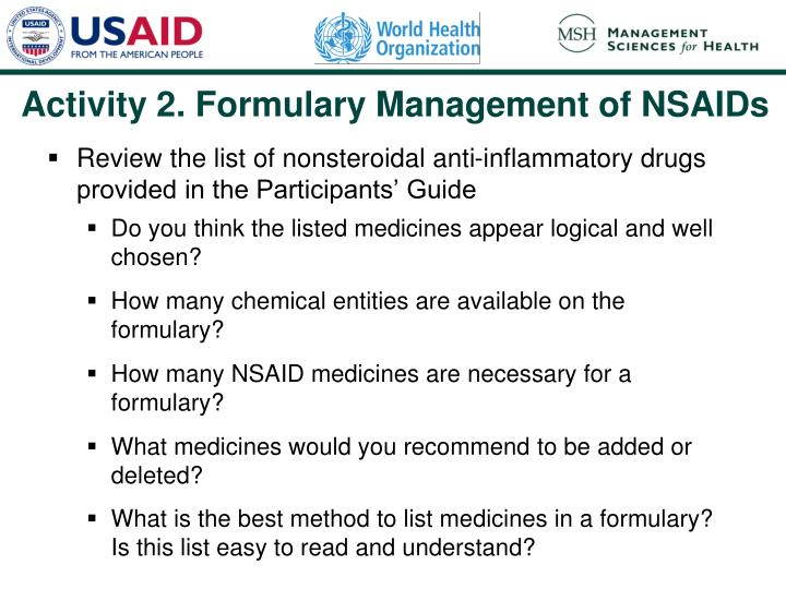 Activity 2. Formulary Management of NSAIDs