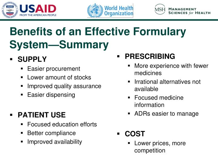 Benefits of an Effective Formulary System—Summary