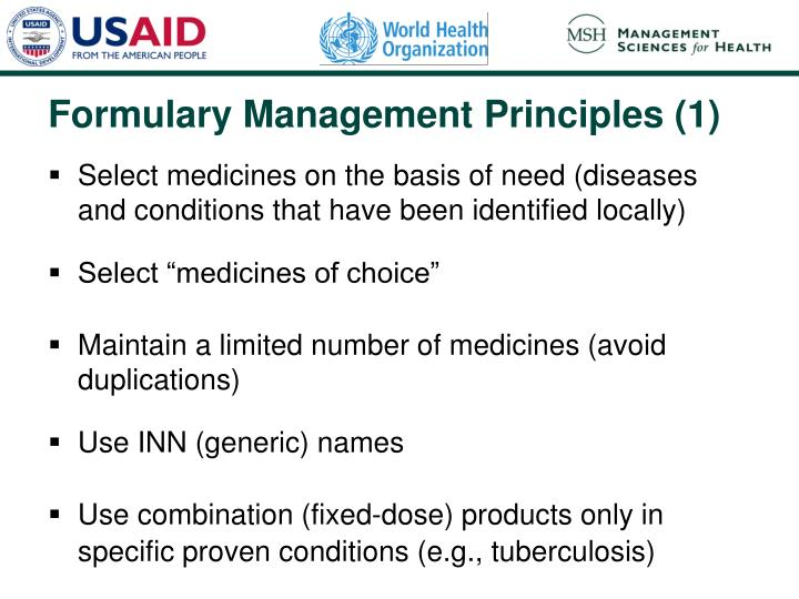 Select medicines on the basis of need (diseases and conditions that have been identified locally)