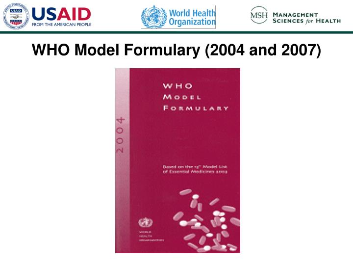 WHO Model Formulary (2004 and 2007)