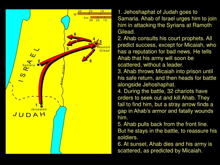 1. Jehoshaphat of Judah goes to Samaria. Ahab of Israel urges him to join him in attacking the Syrians at Ramoth Gilead.