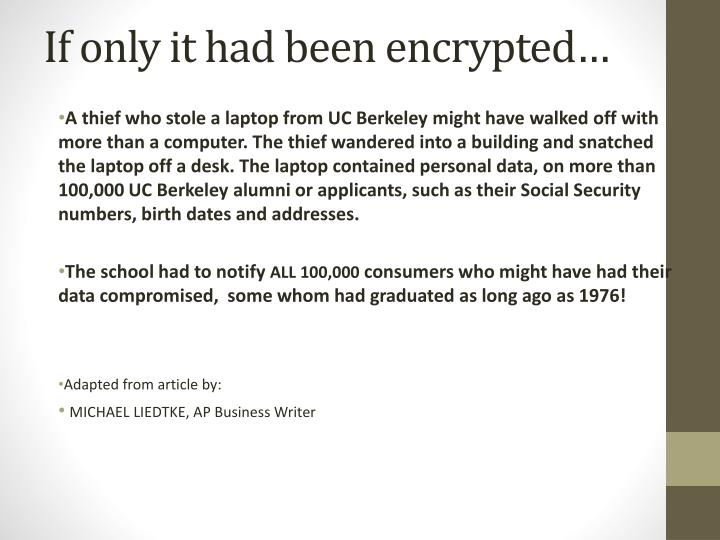 If only it had been encrypted…