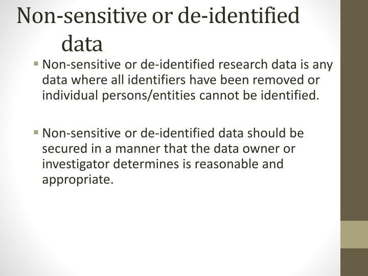 Non-sensitive or de-identified data