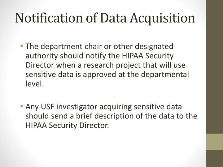 Notification of Data Acquisition