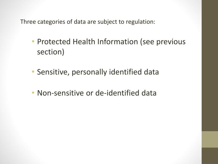 Three categories of data are subject to regulation: