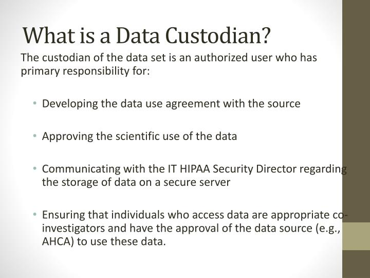 What is a Data Custodian?