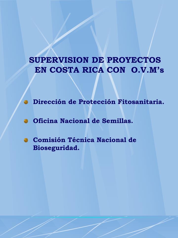 SUPERVISION DE PROYECTOS  EN COSTA RICA CON  O.V.M