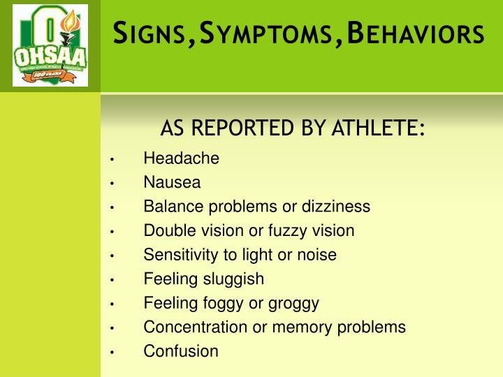 Signs,Symptoms,Behaviors
