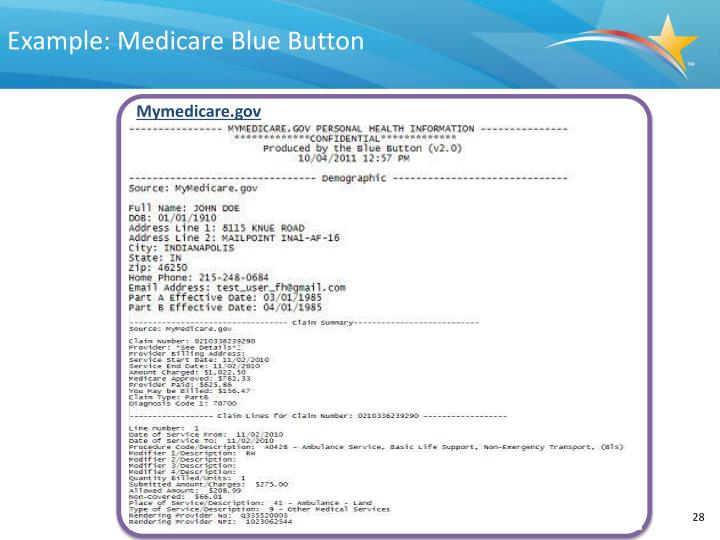Example: Medicare Blue Button