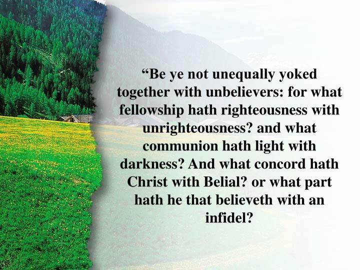 II Corinthians 6:14-15