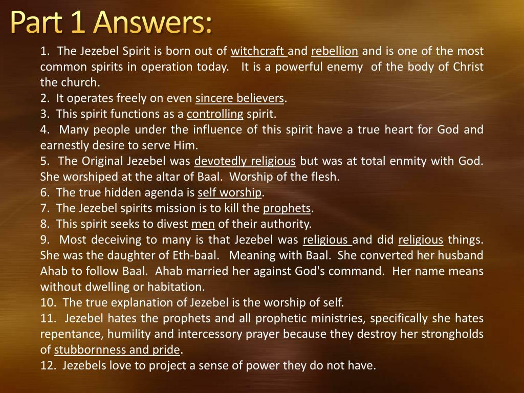 PPT - Discerning the Jezebel Spirit PowerPoint Presentation