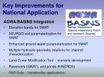 key improvements for national application