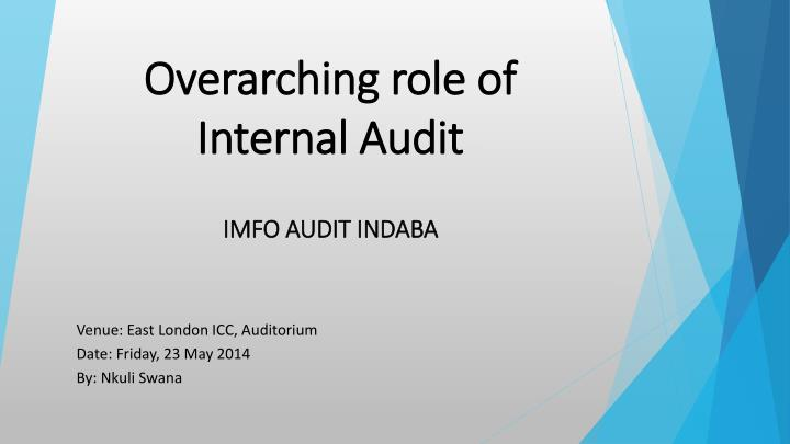 overarching role of internal audit n.