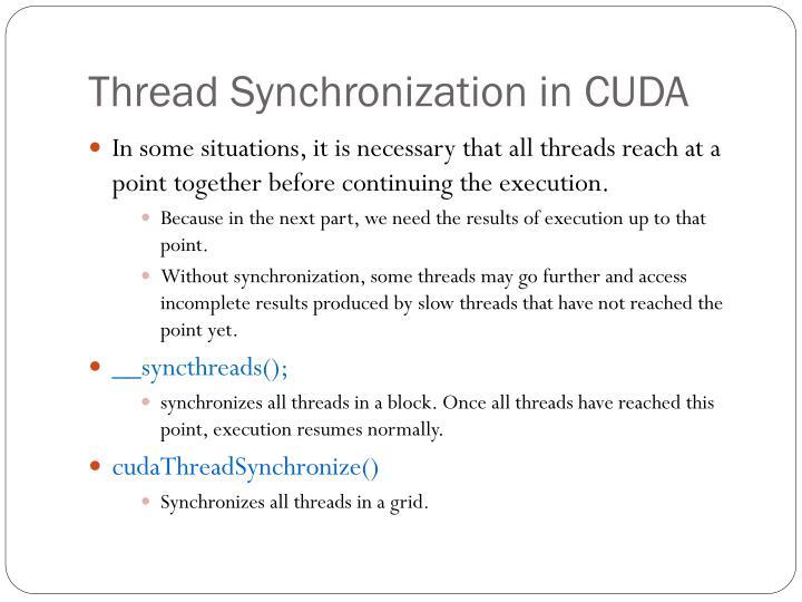 Thread Synchronization in CUDA