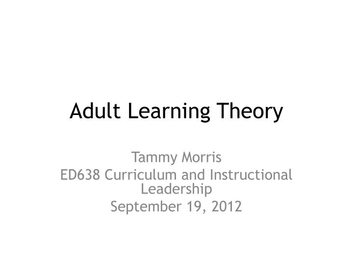 adult learning theory n.