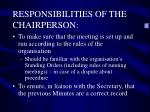 responsibilities of the chairperson