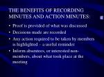 the benefits of recording minutes and action minutes