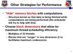 other strategies for performance