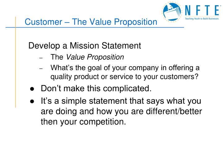 Customer the value proposition