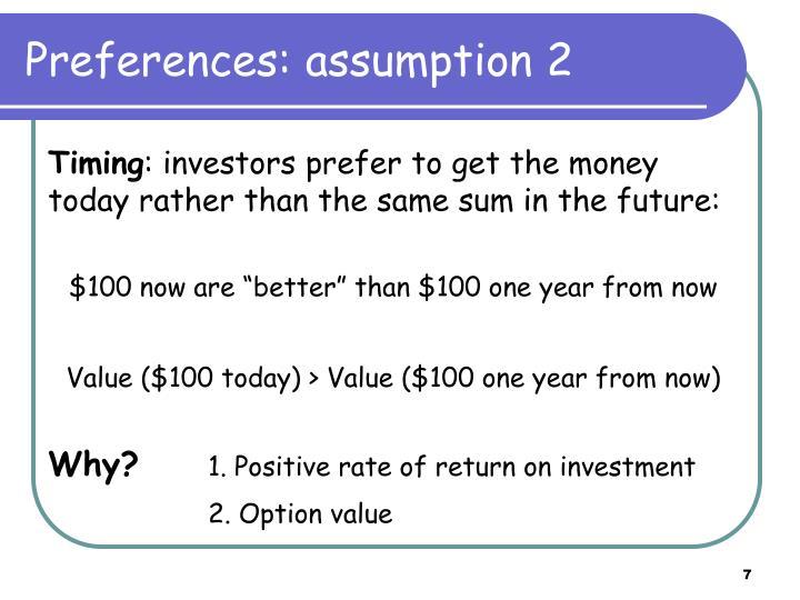 Preferences: assumption 2