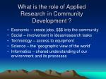 what is the role of applied research in community development