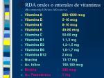 rda orales o enterales de vitaminas recommended dietary allowances