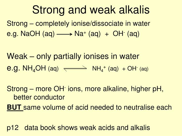 Strong and weak alkalis
