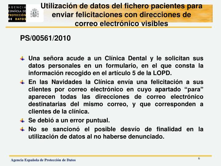 Utilización de datos del fichero pacientes para