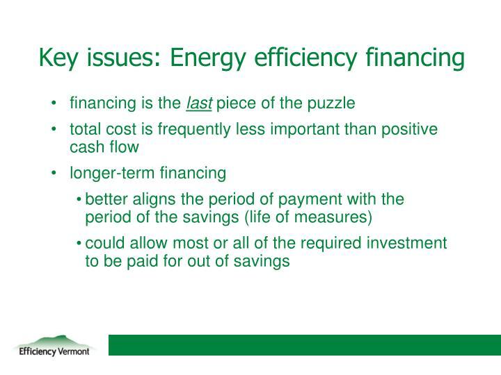Key issues: Energy efficiency financing