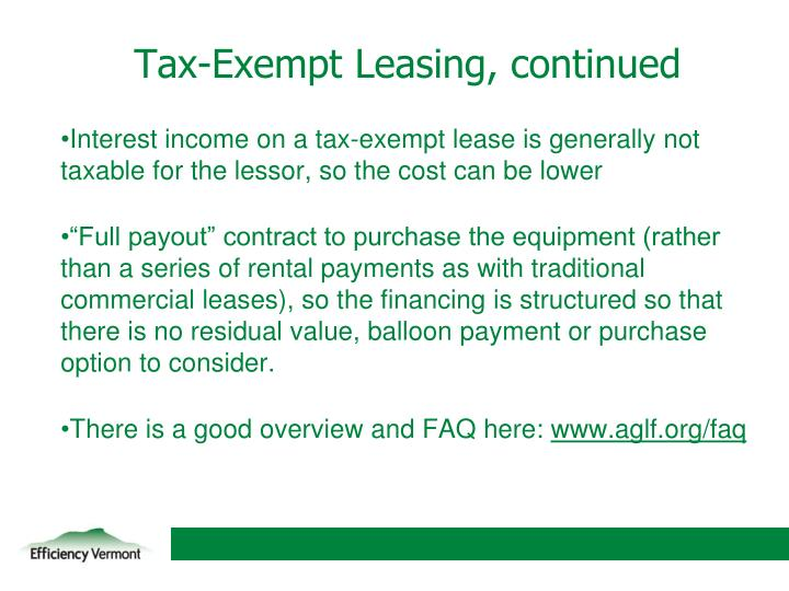 Tax-Exempt Leasing, continued