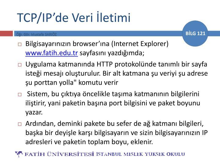 TCP/IP'de Veri İletimi