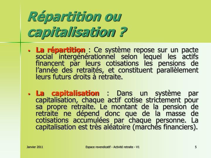 Répartition ou capitalisation?