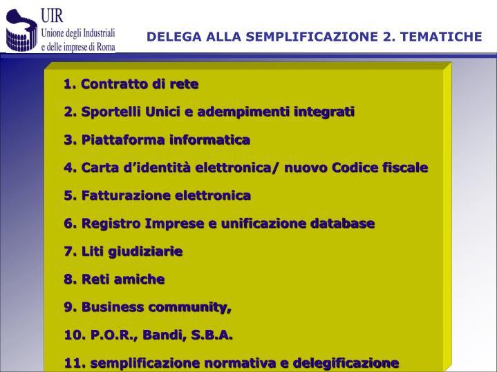 DELEGA ALLA SEMPLIFICAZIONE 2. TEMATICHE