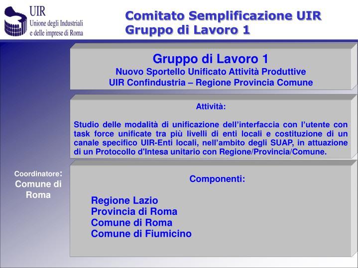 Comitato Semplificazione UIR
