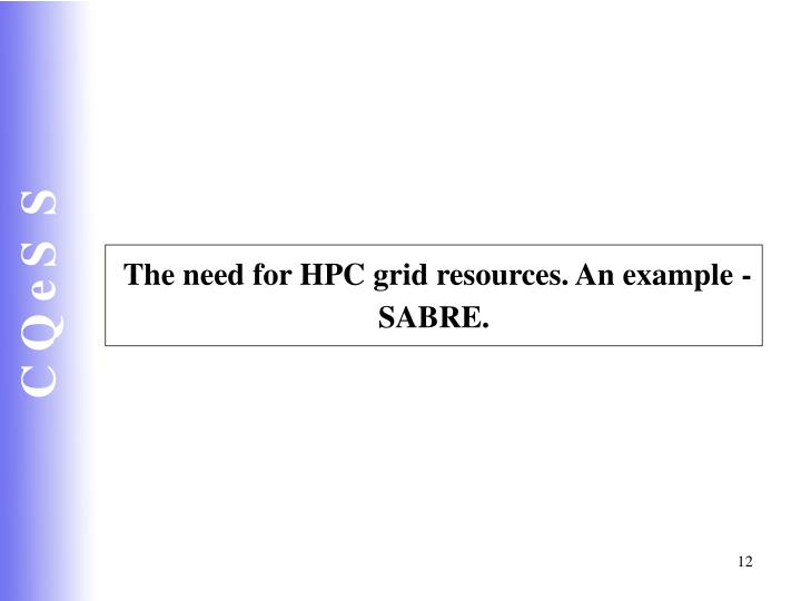 The need for HPC grid resources. An example - SABRE.