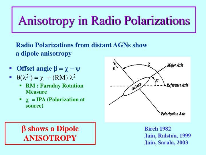 Anisotropy in Radio Polarizations