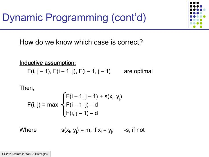Dynamic Programming (cont'd)