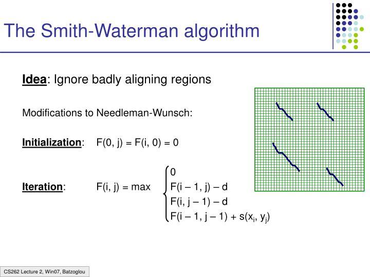 The Smith-Waterman algorithm