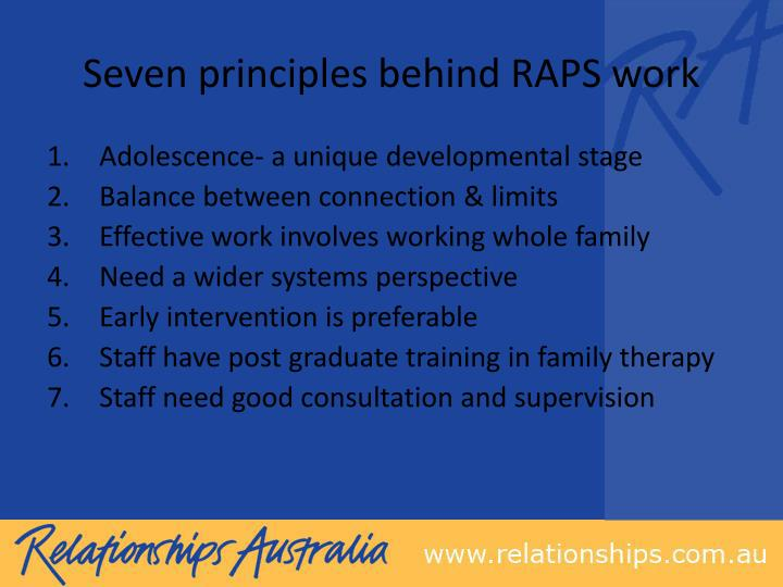 Seven principles behind RAPS work