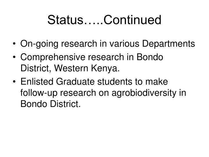 Status…..Continued