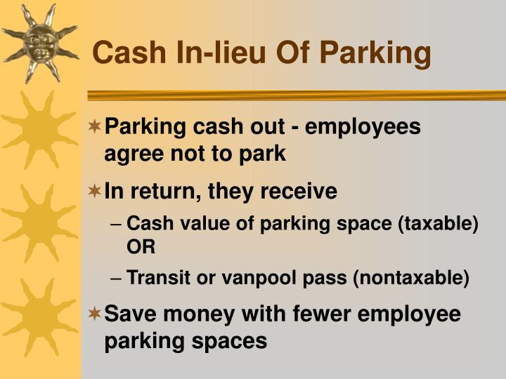 Cash In-lieu Of Parking