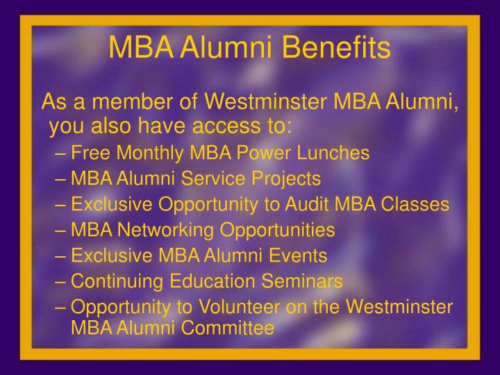Mba alumni benefits