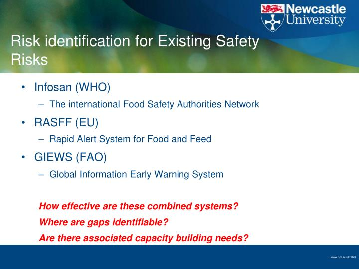 Risk identification for Existing Safety Risks