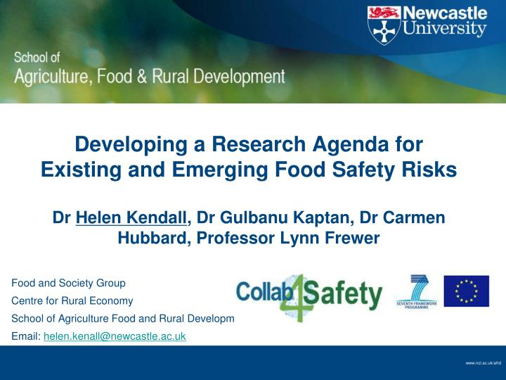 Developing a Research Agenda for Existing and Emerging Food Safety Risks