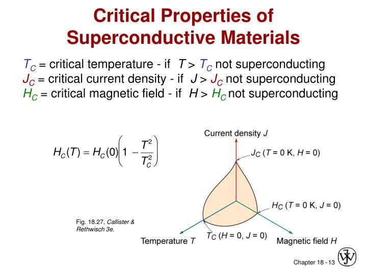 Critical Properties of Superconductive Materials